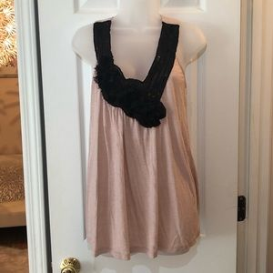 Blush top with chiffon and sequins